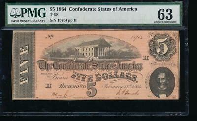 AC T-69 $5 1864 Confederate CSA PMG 63 comment UNCIRCULATED