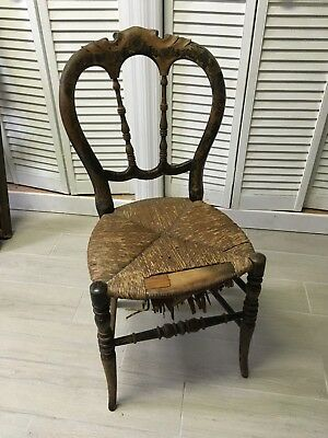 Antique Grand Ledge Chair Vintage, Wood with Gilded Stencil Design and Rush Seat