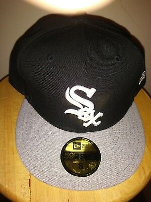 Chicago White Sox Black Cap MLB Hat Team Heather 59FIFTY New Era Fitted Mens  8 9378b4d7e1fb