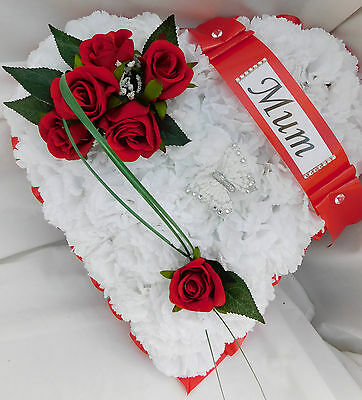 Silk Artificial Funeral Flowers Red Rose Heart Tribute Memorial Mum,Dad,Nan,Wife