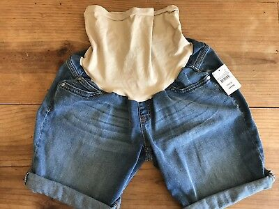 Indigo Blue Size Medium Maternity Shorts Blue Jean Cuffed Denim New With Tags
