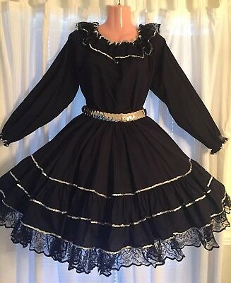 Square Dance Black & Silver Top, Belt & Skirt- Medium