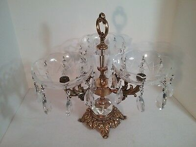 "Vintage Crystal Three Round Bowl Candy Dish Compote on Brass Pedestal 14"" Tall"