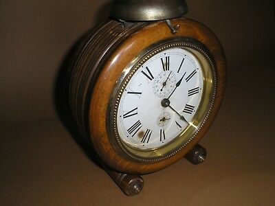 Oversize GOLIATH JUNGHANS 1920's TURNED MAHOGANY CASE ALARM CLOCK - BAUHAUS A/F