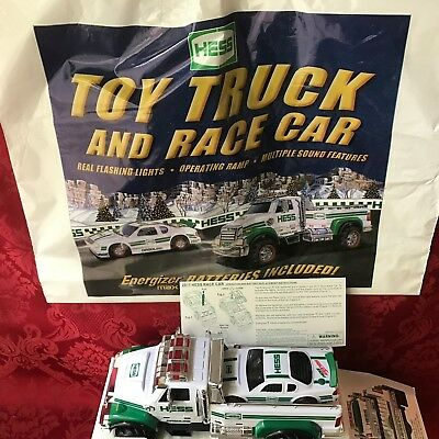 "2011 Hess ""toy Truck And Race Car""-New In Box With Rare Original Bag-Mint"
