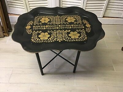 Vintage Black Metal Tray Table Toleware, Folding Wooden Stand