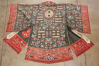 Antique Chinese Robe Qing Dynasty Hand Embroidered Medallions Yin Yang True Vtg