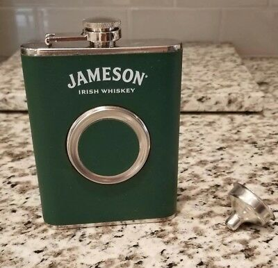 Jameson Whiskey Flask w built in shot cup! 8oz Stainless Steel, New! With Funnel