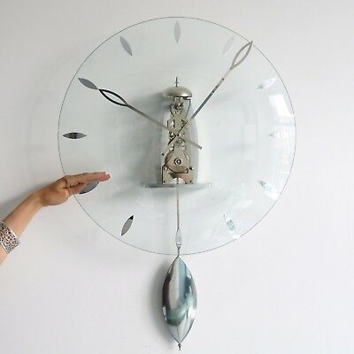 HERMLE Wall Clock DESIGN Germany 8 day Translucent Modern TOP Condition Skeleton
