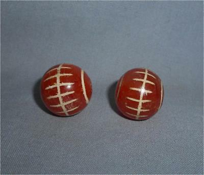 Ancient Burma TOP HIGH AGED LARGE ORIGINAL ETCHED CARNELIAN STONE BEADS