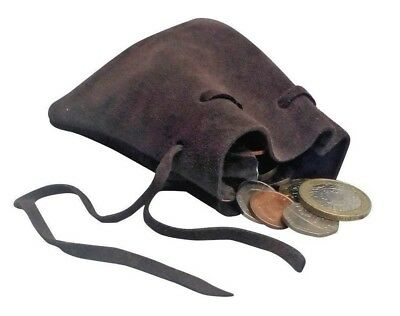 Black and Brown Leather Draw String Pouch Bag Money Dice Reenactment LARP