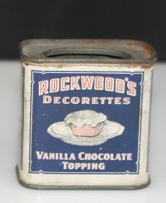 Vintage Rockwood's Chocolate Trial Size Miniature Vanilla Decorettes Topping Tin