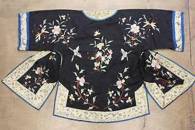 Antique Chinese Robe Black Silk True Vtg Qing Dynasty Flowers Embroidery Animals