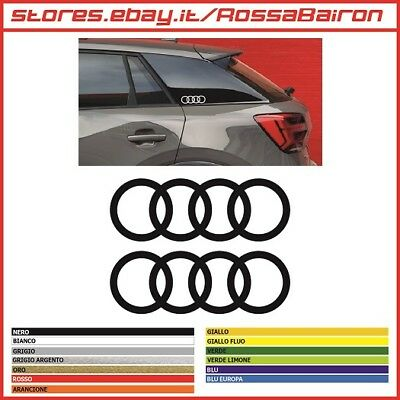 KIT 2 ADESIVI AUDI Q2 ANELLI RING mm.130x44  DECALS STICKERS AUFKLEBER PEGATINAS
