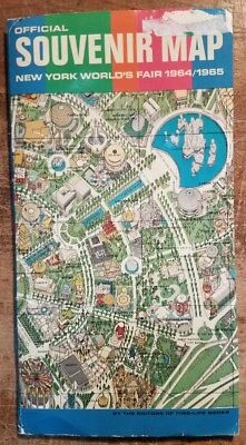 1964-65 New York World's Fair Official Souvenir Map Fold-Out Illustrated