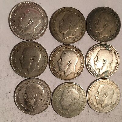 1922 - 1 SHILLING SILVER COINS - LOT OF 9 - UK - GEORGE V -50% SILVER - See Pics