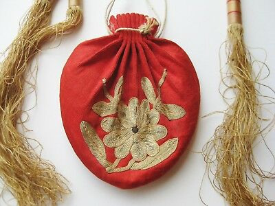 Fine Old Chinese Embroidered Small Red Silk Tassel Drawstring Purse