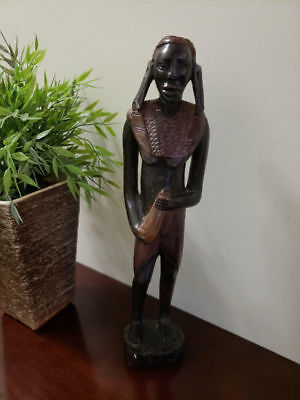 Vintage African Tribal Hand Carved Wood Statue Female NUDE Elongated Lobes Gourd
