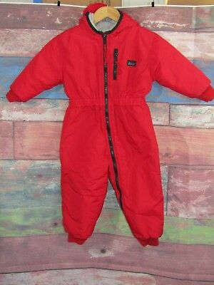 Vtg REI Thaw One Piece Snowsuit Insulated Hooded Red Sz 2T