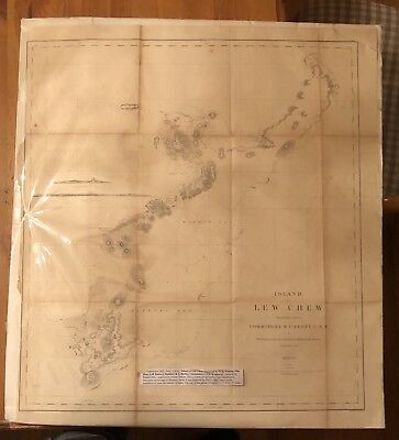 Map Of Okinawa Lew Chew Selmar Siebert Engraving Commodore Perry Antique 1857