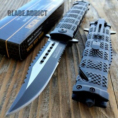 TAC FORCE Spring Assisted Open SAWBACK BOWIE Tactical Rescue Pocket Knife-F