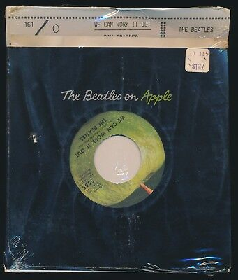 Beatles 1970s WE CAN WORK IT OUT US APPLE 45 SEALED ON CARD ' ULTRA RARE SLEEVE!