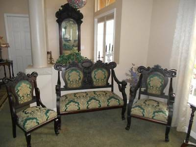 antique VICTORIAN SETTEE ~ 3 PC PARLOR SET ornate mahogany green/gold fabric