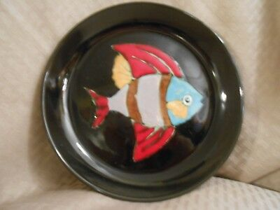 "Rare Unique HB Quimper Fish Plate French Faience 8 3/4"" Plate"