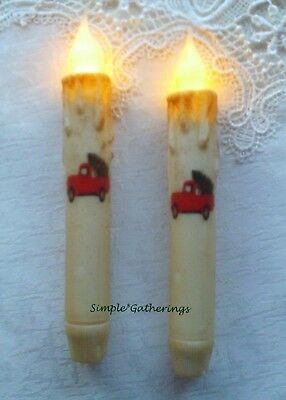 "2 RED TRUCK w/ CHRISTMAS TREE TIMER Taper Candles Grungy Cream 6 3/4"" Primitive"