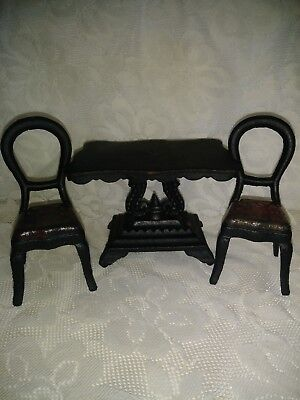 Vintage Miniature Cast Iron Dollhouse Kitchen Table and 2 Chairs