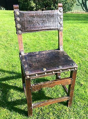 Very Rare 17th Century Spanish Chair With Original Leather, 15th 16th 18th