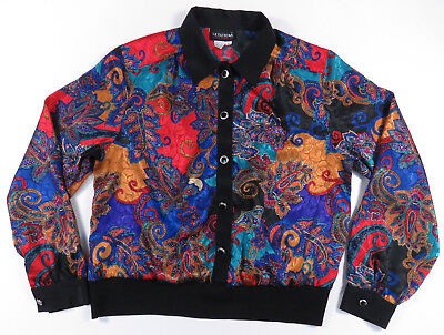 80S 90S Abstract Paisley All Over Print Button Up Jacket Shirt Vintage Womens