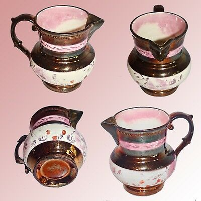 Antique Victorian Copper Luster Cream Pitcher With Pink Luster Accents & Decor