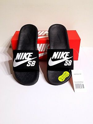 2ed2faf13fba Nike Benassi Solarsoft SB Slide Sandal 840067 001 Black White Men s Size 9  New
