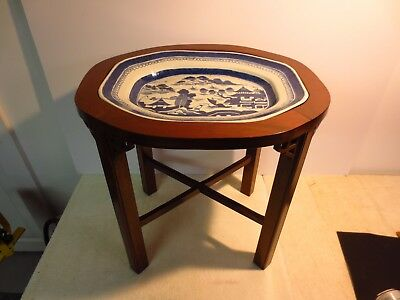 large antique Chinese blue white Canton platter on conforming table base 19th c