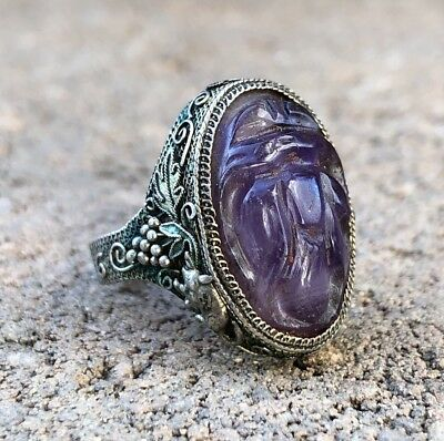 Antique Old Chinese Silver Filigree Carved Purple Amethyst Fruit Adjustable Ring