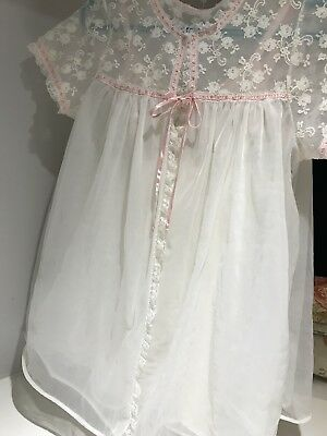 French Maid White Pink Lace Chiffon Babydoll Peignoir