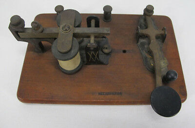 Antique 1890's Manhattan Electric Supply Co MESCO Telegraph Key& Sounder KOB yqz