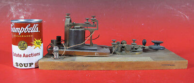 Antique Early 64 Telegraph Key & Sounder on Board KOB Stumped on Maker yqz