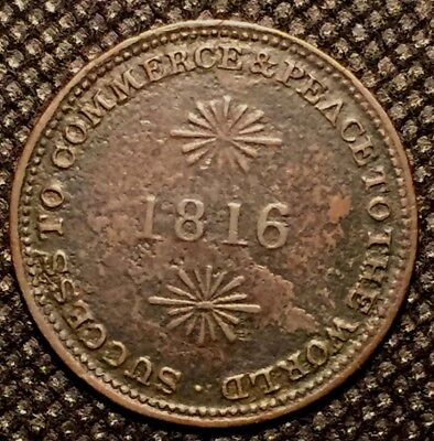 1816 Sir Isaac Brock Success To Commerce Half Penny Token Coin