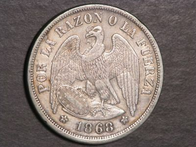 CHILE 1868 1 Peso Silver Crown VF-XF