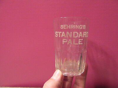 Sehring's STANDARD PALE beer glass etched antique prohibition era bar