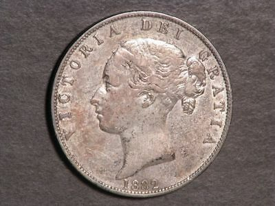 GREAT BRITAIN 1882 1/2 Crown Silver VF-XF