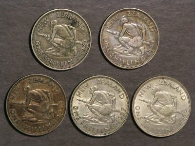 NEW ZEALAND 1933-1940 1 Shilling Silver - 5 Coins/Dates Avg. VF-XF