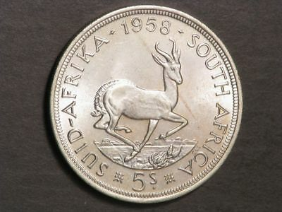 SOUTH AFRICA 1958 5 Shillings Silver Crown UNC