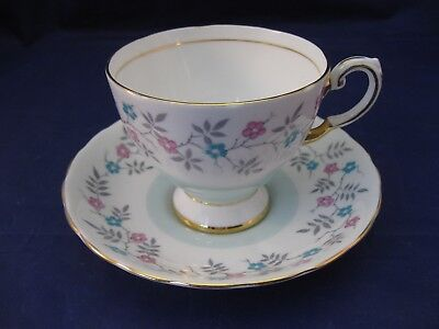 Tea Cup And Saucer - Tuscan - Made in England - Small Pink and Aqua Flowers