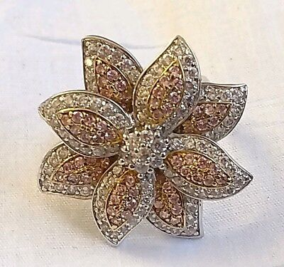 Fabulous Designer Large Sterling Silver Pink And Clear CZ Flower Ring