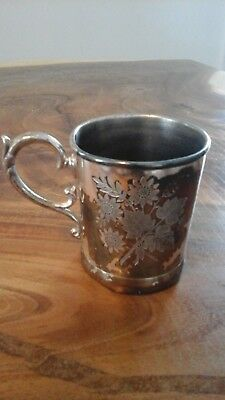 Antique Platted silver cup mug with flower design *American silver plate co