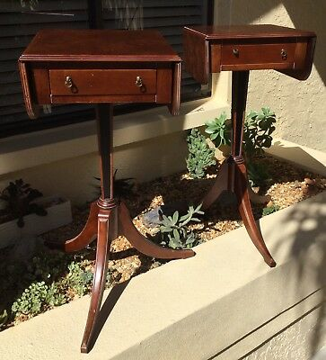 VINTAGE pair THE BOMBAY COMPANY BURL WALNUT DROP LEAF END TABLES / NIGHTSTANDS