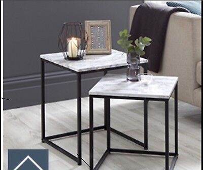 Modern LUXURY Marble Effect Side Table Black Metal Nest Of 2 Tables